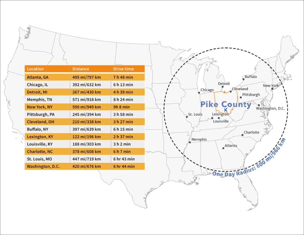 One day travel radius map